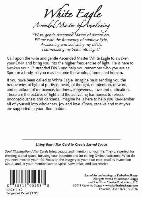 white eagle altar card text by katherine skaggs