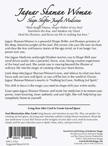 Katherine Skaggs Jaguar Shaman Woman altar card back